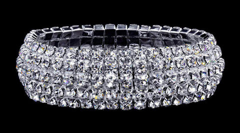 Bracelets #16043 - 5 Row Domed Stretch Rhinestone Bracelet - Crystal Silver