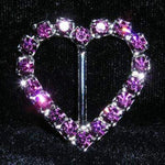 "Buckles & Slides #12896 - Heart 1.25"" buckle - Amethyst"