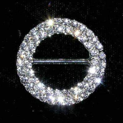 "Buckles & Slides #8149 Double Row 1 1/8"" Rhinestone Buckle"