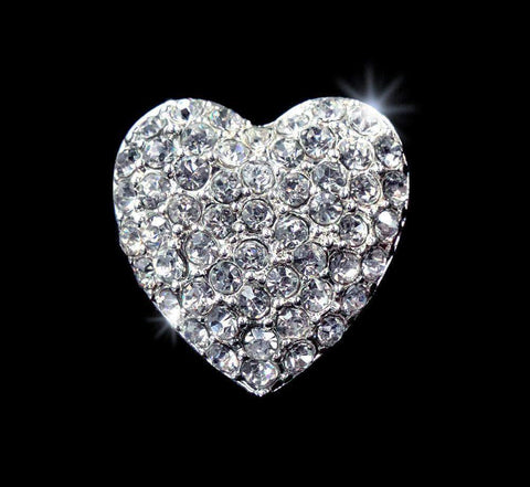 Buttons - Other Shapes #15623 - Pave Heart Button - 3/4""