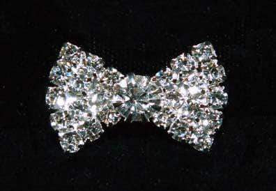 "Buttons - Other Shapes #15980 - Small Rhinestone Bow Button  1"" x 5/8"""