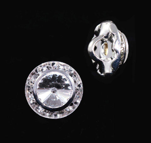 Buttons - Round 11mm Rondel Button with Crystal Rivoli Center - 11790/11mm