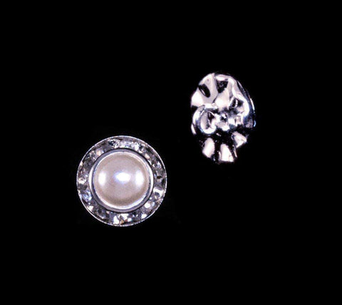 Buttons - Round 11mm Rondel Button with Imitation Pearl Center - 11789/11mm
