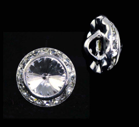 Buttons - Round 13mm Rondel Button with Crystal Rivoli Center - 11790/13mm