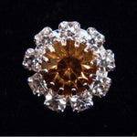 Buttons - Round #14062 Medium Rhinestone Rosette Button - Amber Center
