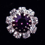 Buttons - Round #14062 Medium Rhinestone Rosette Button - Amethyst Center