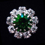 Buttons - Round #14062 Medium Rhinestone Rosette Button - Emerald Center