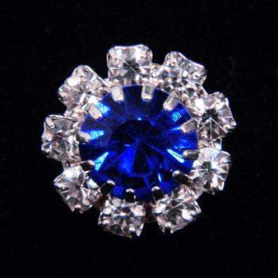 Buttons - Round #14062 Medium Rhinestone Rosette Button - Sapphire Center