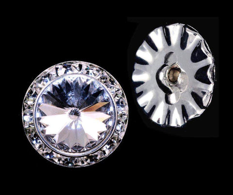 Buttons - Round #14997 - 20mm Rondel Button with Crystal Rivoli Center