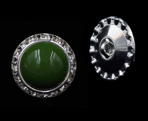 Buttons - Round #16481olivine - 25mm Rondel Button with Olivine Color Cabachon Center