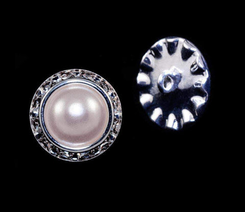 Buttons - Round 16mm Rondel Button with Imitation Pearl Center - 11789/16mm