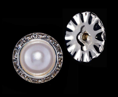 Buttons - Round 20mm Rondel Button with Imitation Pearl Center - 11789/20mm
