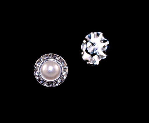 Buttons - Round 8mm Rondel Button with Imitation Pearl Center - 11789/8mm