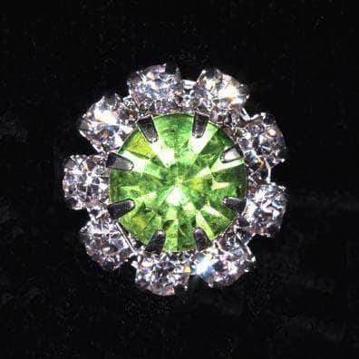 "Buttons - Round 9/16"" Rosette Button - #1215 Peridot - Silver Plated (August)"