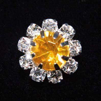 "Buttons - Round 9/16"" Rosette Button - #1215 Yellow Topaz (November)"