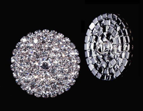 Buttons - Round Round Pave Button with Stone Center - Large - #7101