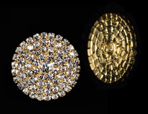 Buttons - Round Round Pave Button with Stone Center - Large - #7101- Gold Plated