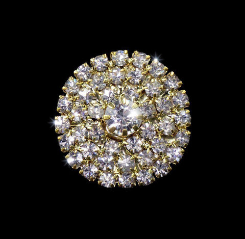 Buttons - Round Round Pave Button with Stone Center - Medium - #7100G Gold Plated