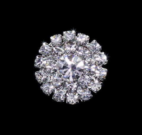 Buttons - Round Round Pave Button with Stone Center - Small - #7099
