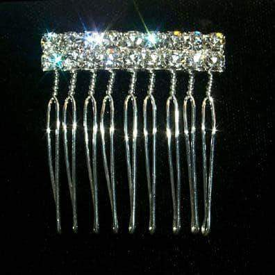 Combs #12143 2 Row Rhinestone Twisted Wire Comb