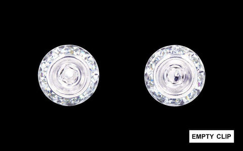 Earrings - Button #12535 11mm Rondel with Rivoli Button Earrings with NO center stone-clip