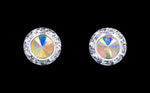 Earrings - Button #12535 AB 11mm Rondel with Rivoli Button Earrings