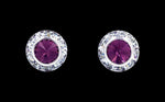 Earrings - Button #12535 Amethyst 11mm Rondel with Rivoli Button Earrings