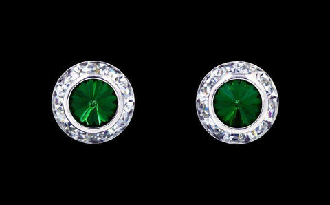 Earrings - Button #12535 Emerald 11mm Rondel with Rivoli Button Earrings