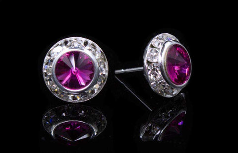 Earrings - Button #12535 Fuschia 11mm Rondel with Rivoli Button Earrings