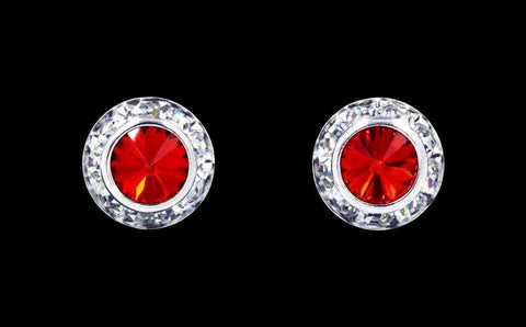 Earrings - Button #12535 Light Siam 11mm Rondel with Rivoli Button Earrings