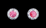 Earrings - Button #12535 Rose 11mm Rondel with Rivoli Button Earrings