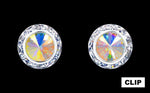 Earrings - Button #12536 13mm Rondel with Rivoli Button Earrings - ab-Clip