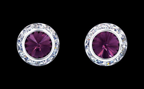 Earrings - Button #12536 Amethyst 13mm Rondel with Rivoli Button Earrings