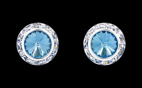 Earrings - Button #12536 Aquamarine 13mm Rondel with Rivoli Button Earrings