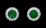 Earrings - Button #12536 Emerald 13mm Rondel with Rivoli Button Earrings