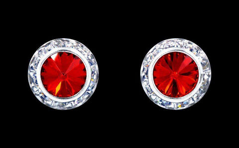 Earrings - Button #12536 Light Siam 13mm Rondel with Rivoli Button Earrings