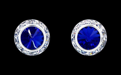 Earrings - Button #12536 Sapphire 13mm Rondel with Rivoli Button Earrings