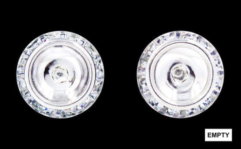 Earrings - Button #12537 16mm Rondel with Rivoli Button Earrings without a center stone