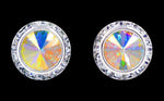 Earrings - Button #12537 AB 16mm Rondel with Rivoli Button Earrings