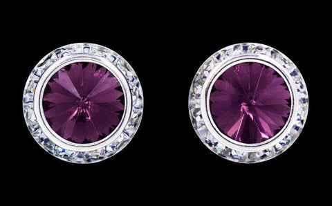Earrings - Button #12537 Amethyst 16mm Rondel with Rivoli Button Earrings