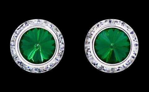 Earrings - Button #12537 Emerald 16mm Rondel with Rivoli Button Earrings