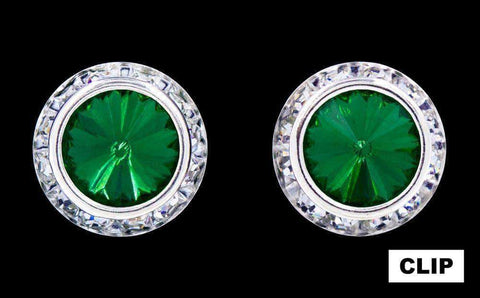 Earrings - Button #12537 Emerald 16mm Rondel with Rivoli Button Earrings - Clip