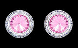 Earrings - Button #12537 Light Rose 16mm Rondel with Rivoli Button Earrings