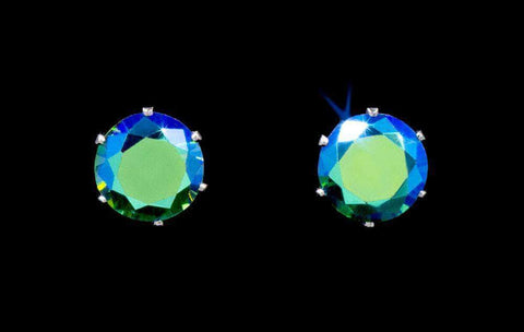 Earrings - Button 3-Carat CZ Emerald AB Stud Earrings