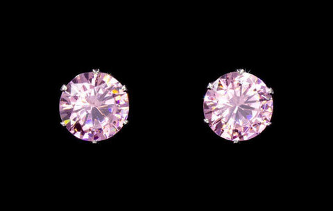 Earrings - Button 3-Carat CZ Light Rose Stud Earrings