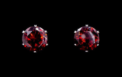 Earrings - Button 3-Carat CZ Siam Stud Earrings