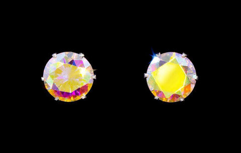 Earrings - Button 3-Carat CZ Silk AB Stud Earrings
