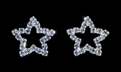 Earrings - Button #5327SME Small rhinestone star earrings