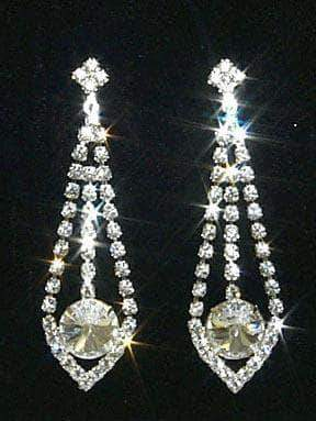 "Earrings - Dangle #10008E - 2.5"" Rhinestone Dangling Earring"