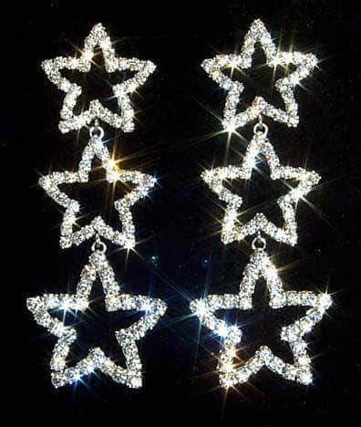 Earrings - Dangle #11963 - Triple Star Drop Earrings
